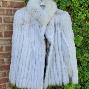 Jackets & Blazers - Vintage blue fox cropped fur coat white fur mix M